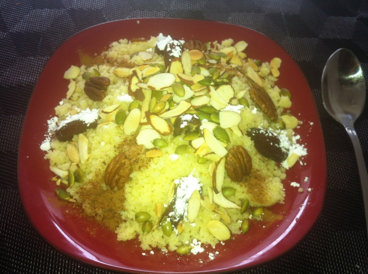 Sweet and salty Moroccan couscous seffa , with nuts and dates, all ...