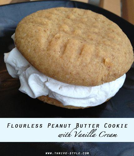 Flourless Peanut Butter Cookies with Vanilla Cream (grain, gluten, and ...
