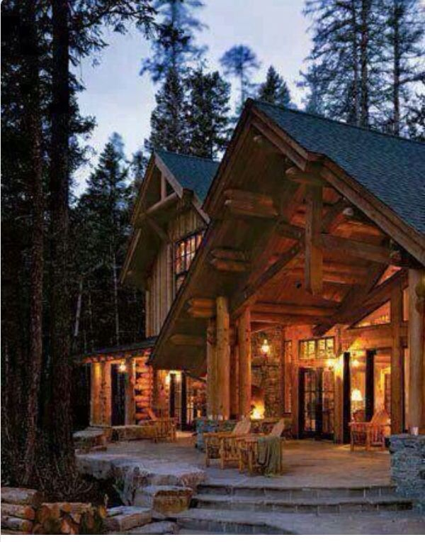 Beautiful cabin cabins pinterest for Log home porches