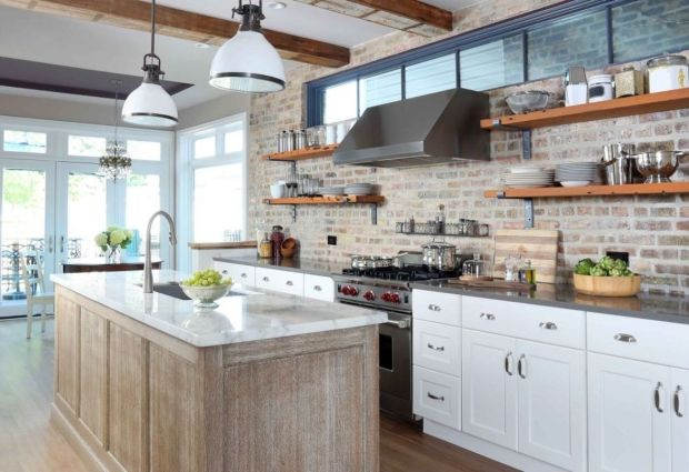 Transitional Island Style Peach kitchen, white cabinets, Normandy