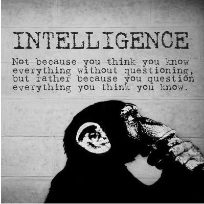 """""""Intelligence: Not because you think you know everything without questioning, but rather because you question everything you think you know."""""""