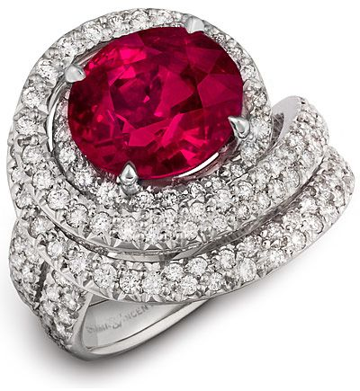 Rare Ruby And Diamond Platinum Ring by Diana Vincent