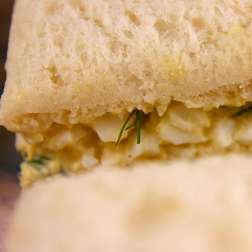 Simple Egg Salad Tea Sandwiches Recipe: A bit of mustard, dill and ...