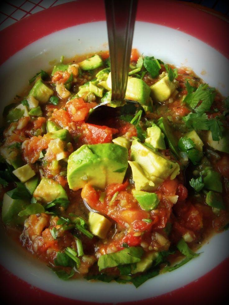 Roasted Garlic Tomato Salsa With Avocado - Hispanic Kitchen