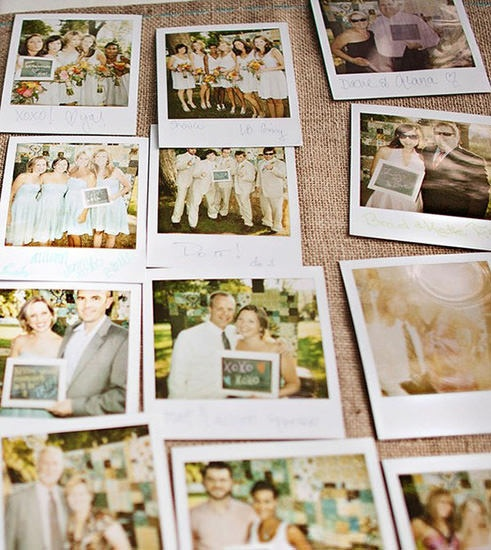 Instead of using a traditional guestbook at their wedding, Jess and Sloane asked wedding guests to pose for Polaroid pictures while holding messages written on a small chalkboard. Awesome idea.