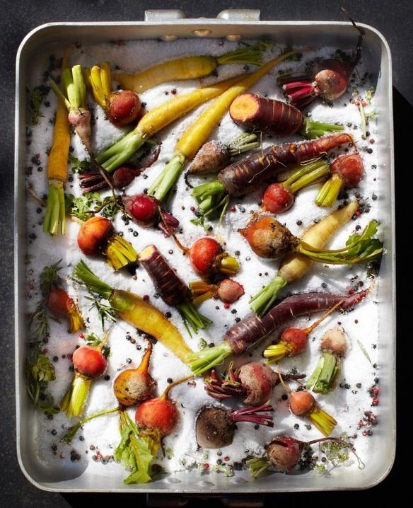 herbs and lemon salt baked wild salmon with tomato aioli and potatoes ...