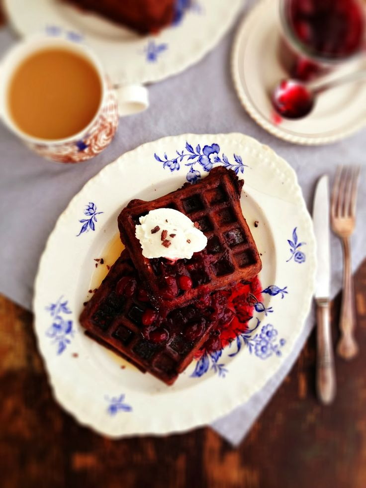 Dark Chocolate Waffles. Made these this morning and they are amazing ...