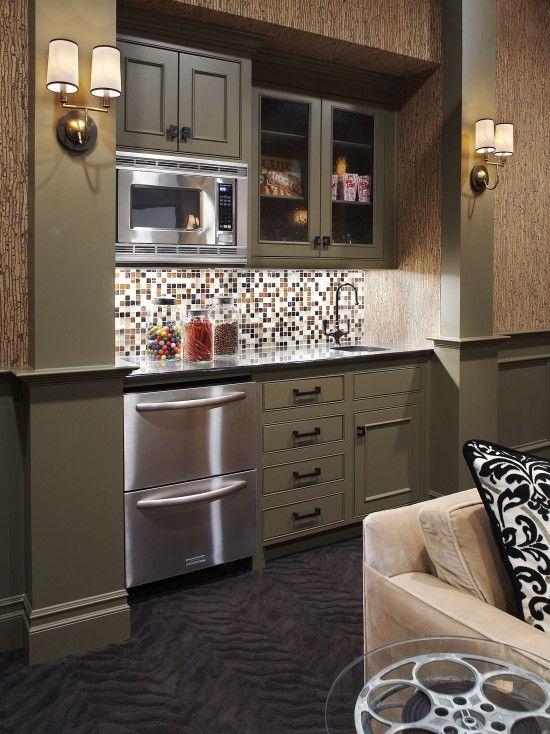Small bar area in a media room specialty spaces pinterest for Basement kitchenette with bar