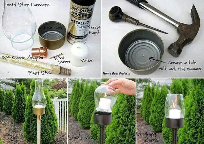Cheap outdoor candle lights outdoors pinterest for Cheap backyard lighting ideas