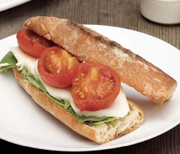 Smoked Tomato and Mozzarella Sandwiches with Arugula