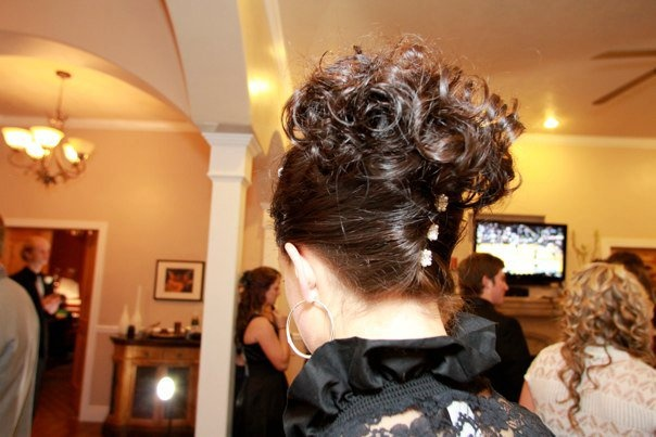 French twist open top updo.