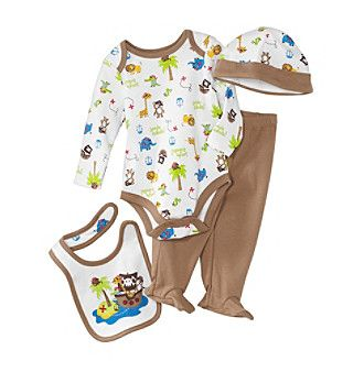 Product cuddle bear baby boys pirate jungle 4 pc take me home set
