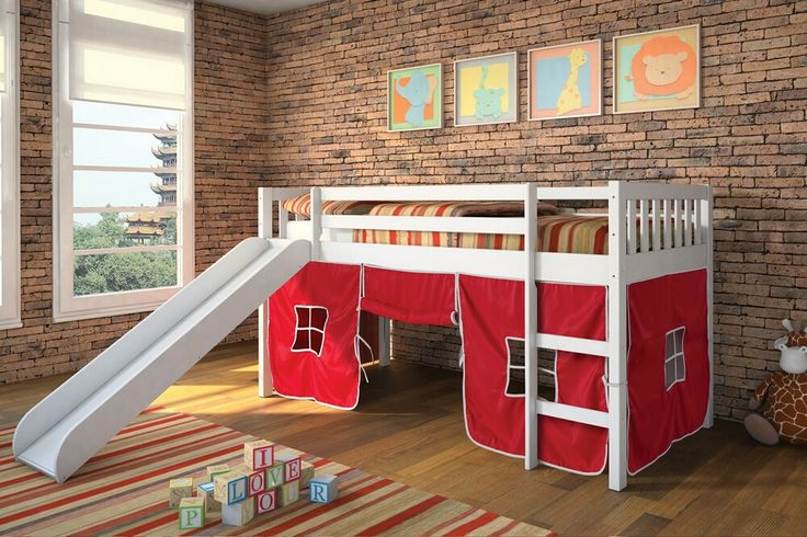 Wasila Collection White Finish Wood Kids Loft Bed With Slide And Red