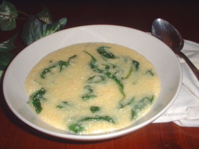 Recipe Rustic Spinach and Cornmeal Soup -- Lidia