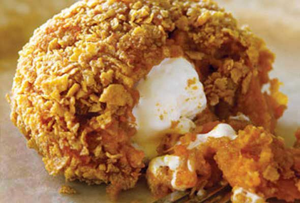 Inside-Out Sweet Potatoes...deep fried mashed sweet potatoes with a ...