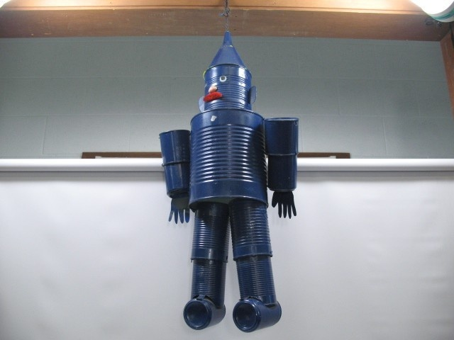 blue coffee tin can man wind chime handmade outdoor guy