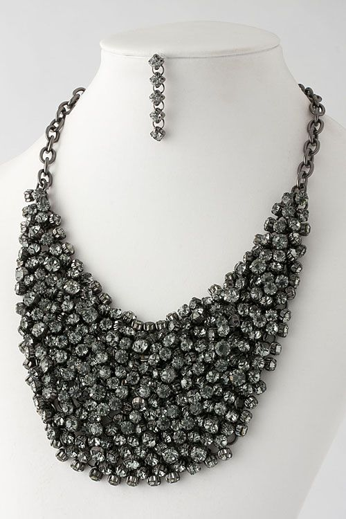 Splenderosa's Black/Crystal Bib Necklace, found in our store