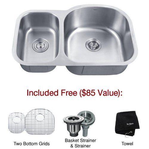 Kraus KBU25 32-Inch Undermount 65/35 Double Bowl 16 Gauge Kitchen Sink ...