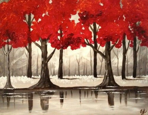 Wine and canvas art pinterest for Red canvas painting ideas