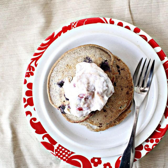 ... Pancakes With Roasted Rhubarb Cardamom Compote Recipes — Dishmaps