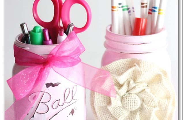 Painted Mason Jar Pencil Holder | For the Home | Pinterest