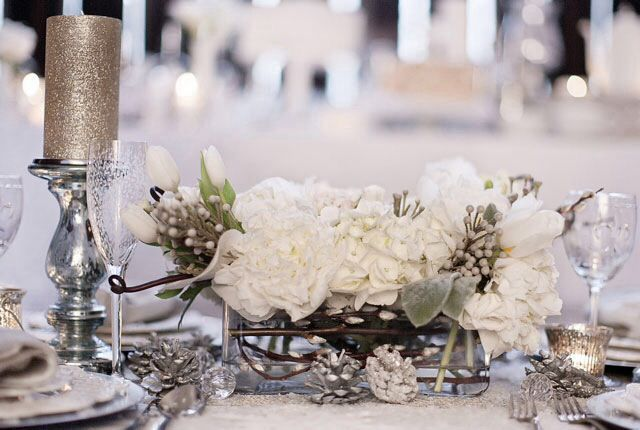 Winter wedding centerpiece stunner