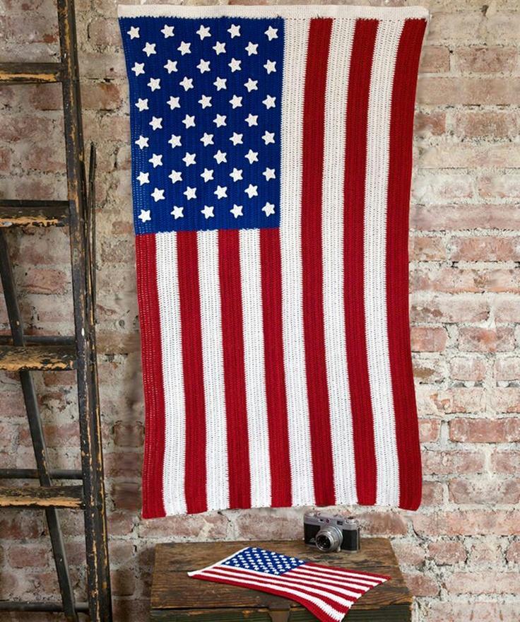 American flag afghan free patern crocheted stars Pinterest