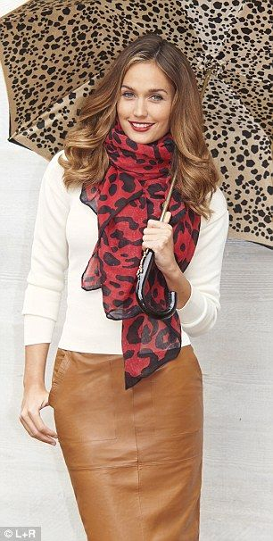 Top, £14, next.co.uk; Scarf, £17.99, zara.com; Leather pencil skirt, £90, asos.com; Umbrella, £175, aspinaloflondon.com