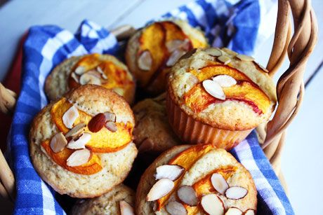 Peach Almond Muffins Recipe FROM She Makes and Bakes