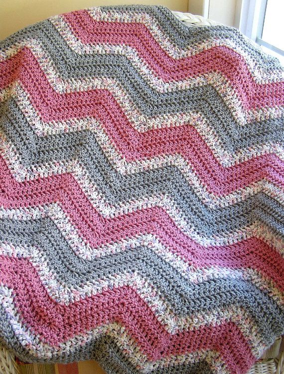 zigzag afghan chevron zig zag baby blanket afghan wrap crochet ...