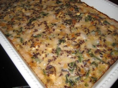chicken & wild rice casserole with spinach and mushrooms