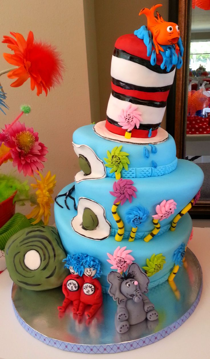 - Dr. Seuss Cake - All decorations made of fondant