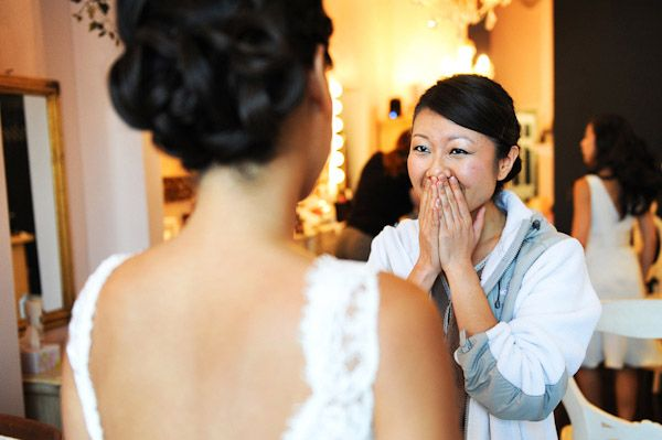 Bridesmaid overcome with emotion, photo by Kenny Nakai Photography