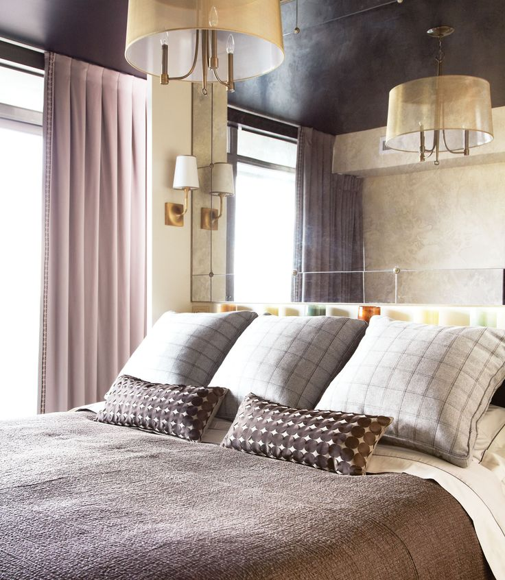 bedroom mirrored wall black ceiling home interiors pinterest