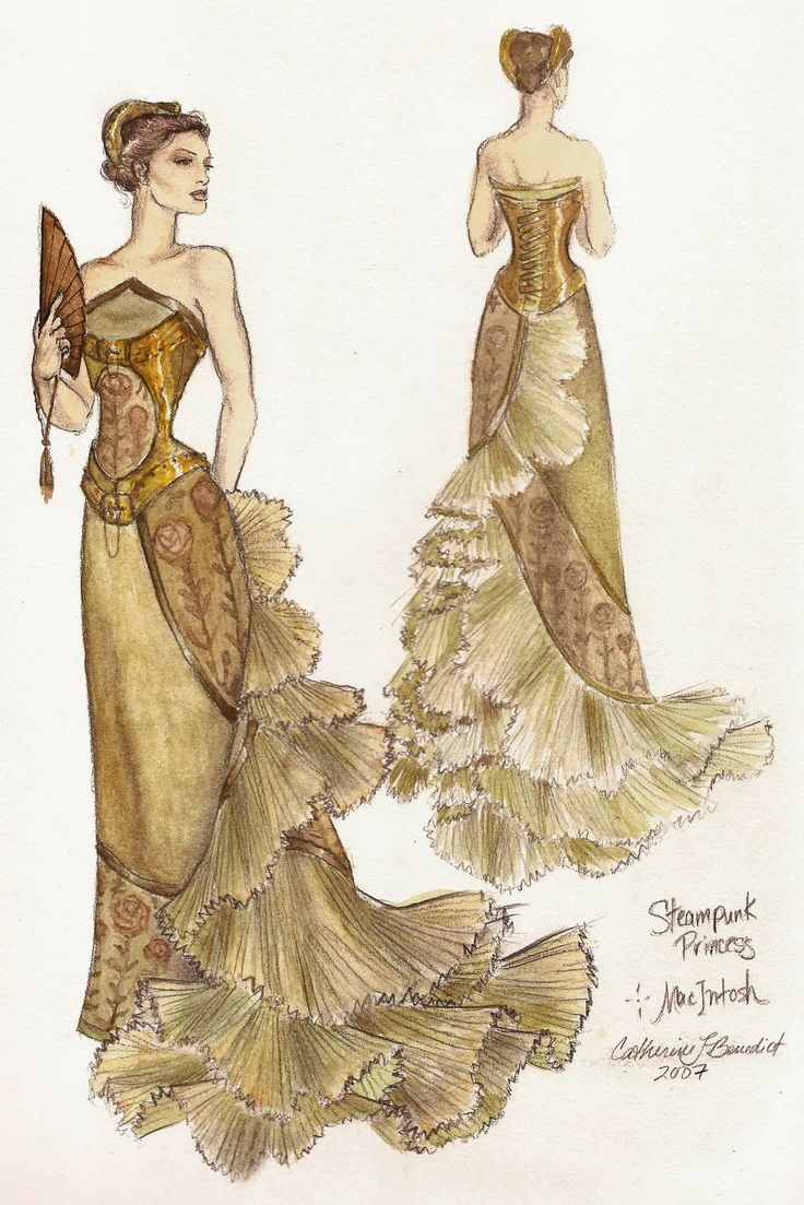 Steampunk Princess Ballgown - by fashion artist Catherine Benedict.  Beautiful!