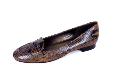 Talbots Shoes Leather Brown Snakeskin Slip on Ballet Flats Loafers