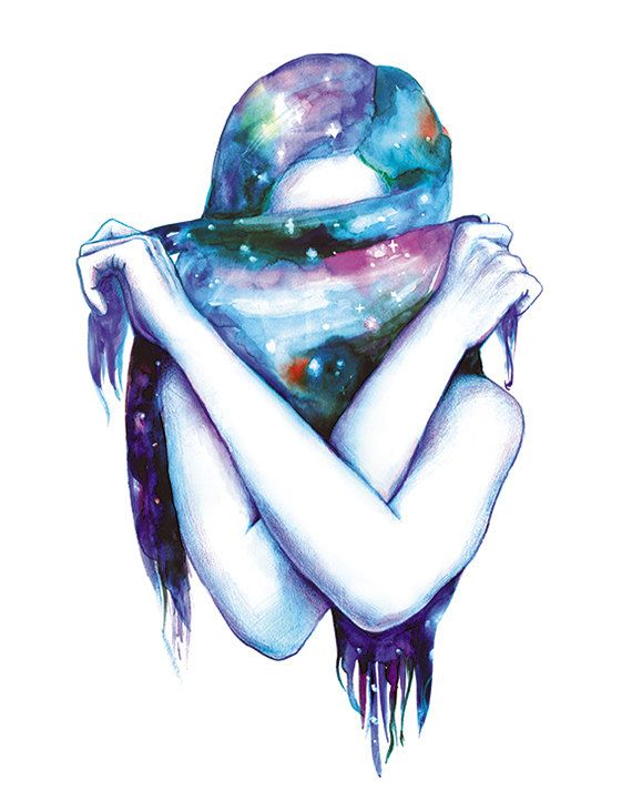 Print of watercolor painting - Galaxy- 8x10 wall print