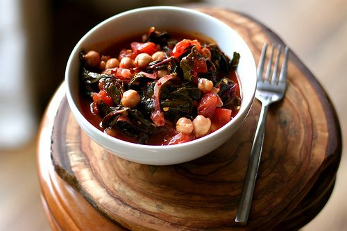 Chickpea Stew with Swiss Chard & Tomatoes #soup