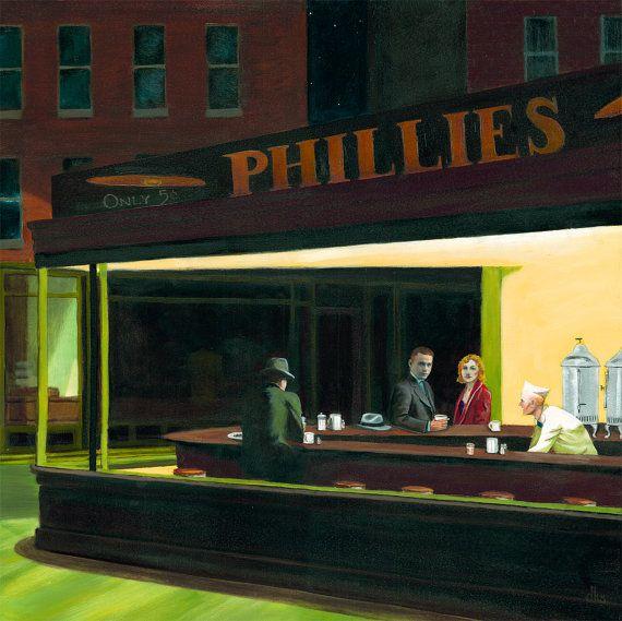 Original oil painting nighthawks hopper urban art for Diner painting