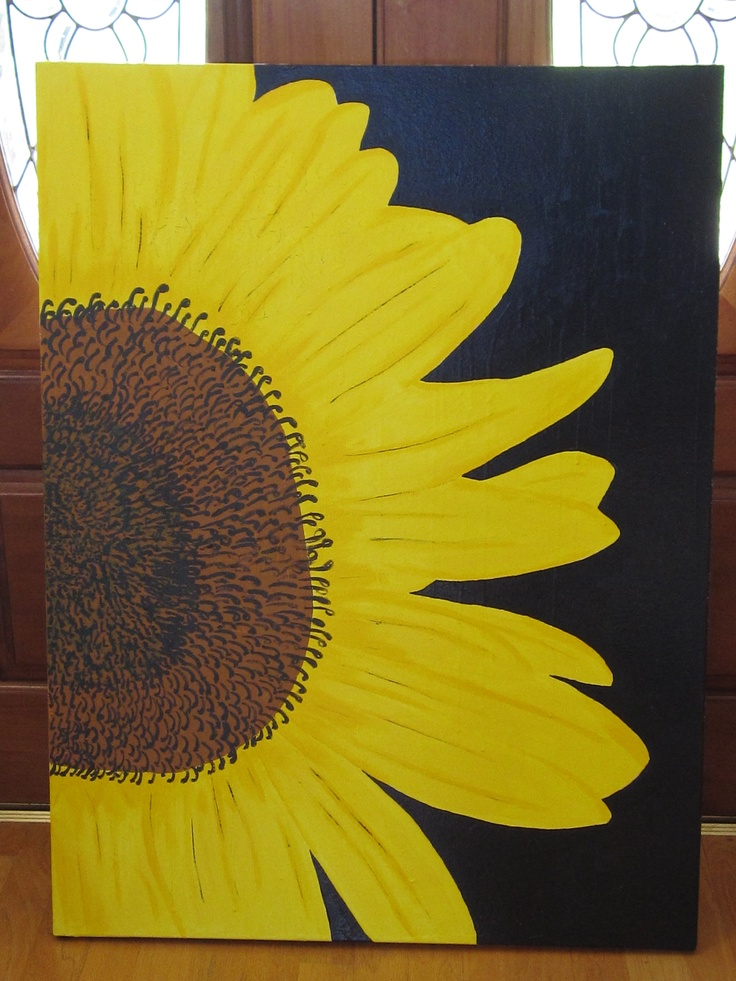 Huge 4' x 3' Sunflower on Canvas