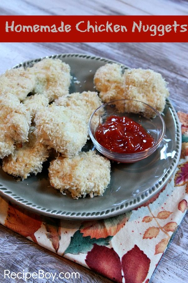 Homemade Chicken Nuggets. Made by an 11 year old boy.....gonna get my ...