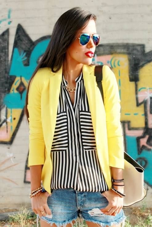 1                                                Stripes & Yellow                       #FashionInspiration