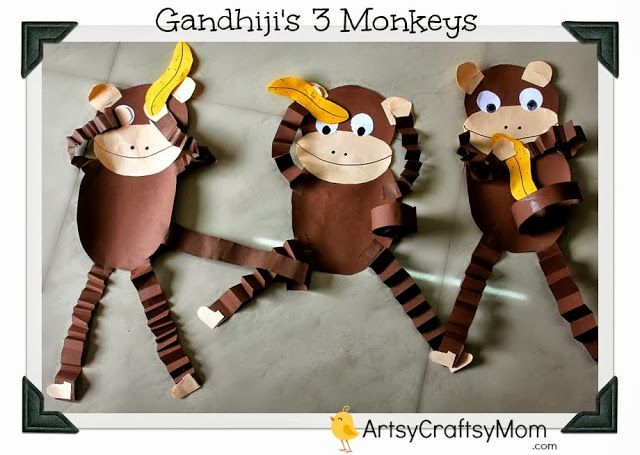 "October 2nd is celebrated as Gandhi Jayanti. It is a national holiday in India to mark the occasion of the birthday of Mahatma Gandhi, the ""Father of the Nation"". We recreated his famous 3 monkey craft - See No evil, Hear no evil & talk no evil. This post also has a free Printable for you to make your own Paper monkey. #MonkeyCraft #Printable #FreeDownload #AnimalCrafts #MForMonkey"