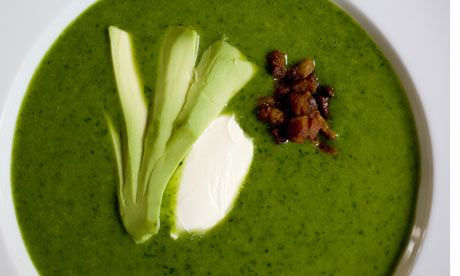 ... weekly recipe: chilled spinach soup with bacon crunchies and avocado