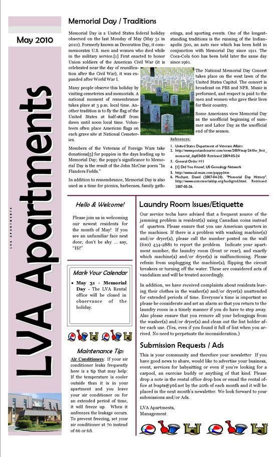 apartment complex sample newsletter apt newsletter pinterest. Black Bedroom Furniture Sets. Home Design Ideas