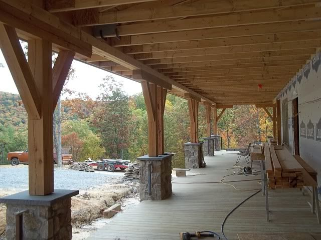Love the stone and wood pillars patio pinterest for Patio pillars