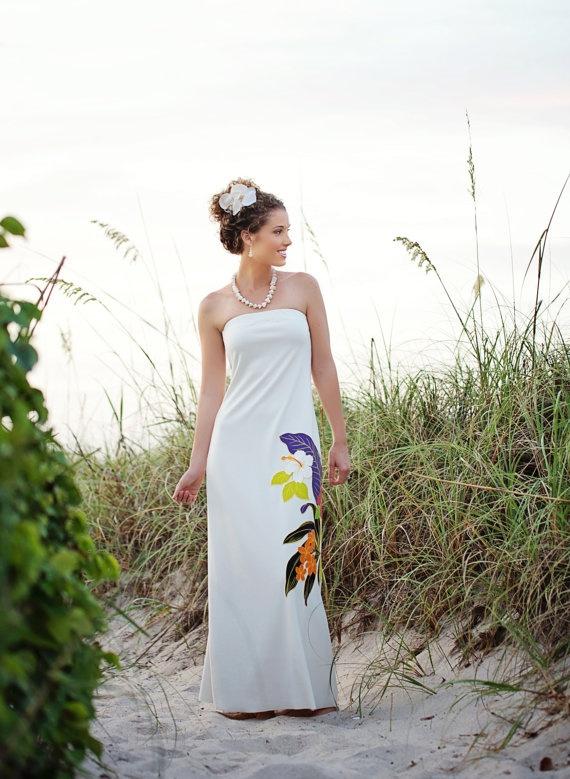Strapless Hawaiian Beach Wedding Dress