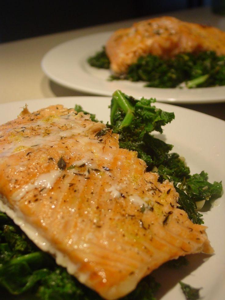 Baked Salmon and Sauteed Garlic Lemon Kale   Sea food   Pinterest