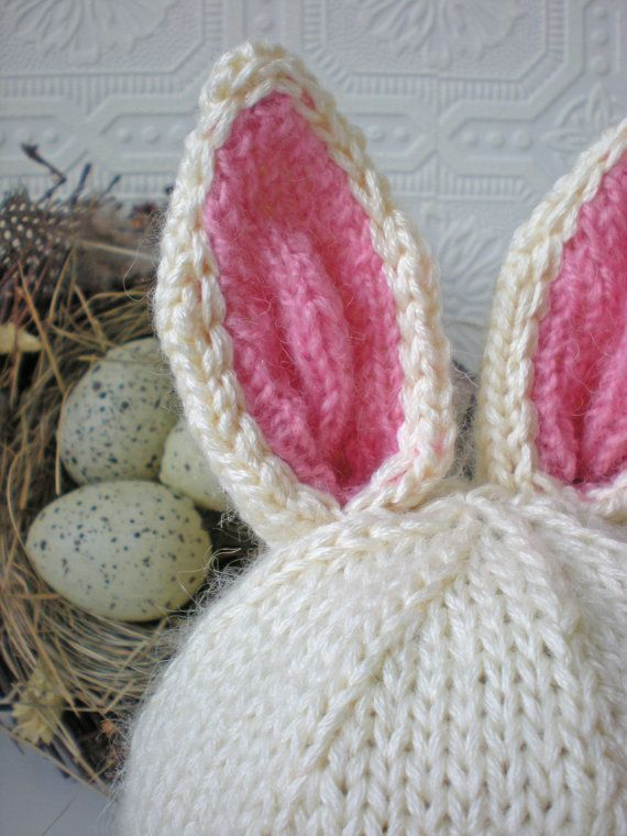 Bunny Ears Knitting Pattern : Baby Bunny Hat, Knit with Bunny Ears and Tail, Honey Bunny, Toddler H?