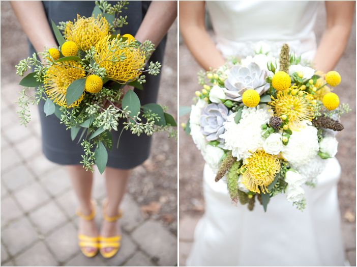 bright yellow bouquets // Real Wedding: Amanda + Marinus in Michigan // Images by Amy Starka Photography // via Modernly Wed (9)